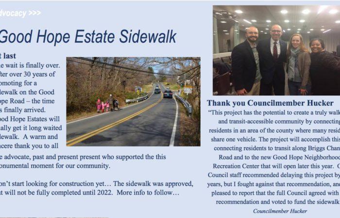Hucker Helps Good Hope Estates Finally Get Sidewalk
